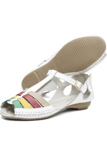 Sandalia Feminina Q&Ampa 710 Couro Branco / Verde E Amarela
