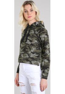 84b13f847d CEA. Em Moletom Camuflado Verde Blusão Capuz Feminino Com Estampado Militar