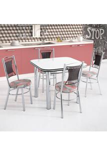 Conjunto De Mesa De Cozinha Com 4 Lugares Lagos Corino Branco E Colorido