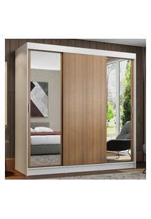Guarda-Roupa Casal Madesa Reno 3 Portas De Correr Com Espelhos Branco