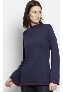 Blusa Em Tricã´ Com Fendas - Azul & Vermelha - Scalonscalon