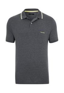 Camisa Pierre Cardin Polo Monaco Masculina - Masculino-Cinza