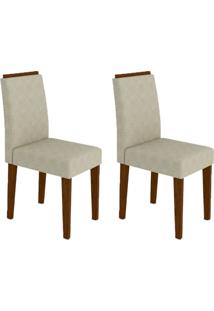Conjunto Com 2 Cadeiras Ana Ii Castanho E Creme