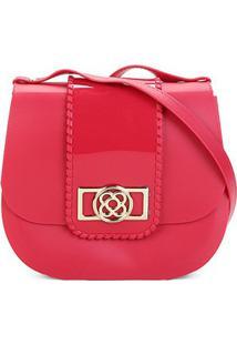 Bolsa Petite Jolie Flap Detalhe Verniz Alça Transversal Saddle Bag Feminina - Feminino-Vermelho