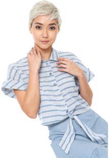 Camisa Linho Redley Amarração Azul
