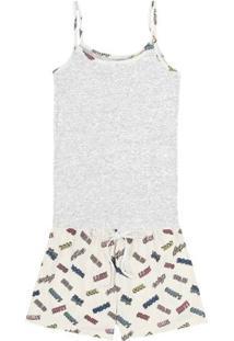 Pijama Feminino Com Blusa Em Ribana Com Cós E Shorts Estampados
