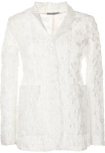 Cecilie Bahnsen Blazer Translúcido Com Detalhe Floral - Branco