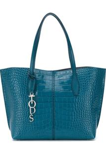 Tod'S Croc-Effect Tote - Azul