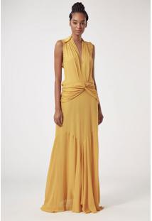 Vestido Longo Amarelo Nó Quadril Amarelo Mel - 38