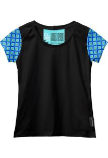 Camiseta Baby Look Feminina Algodão Estampa Manga Curta Leve Azul-Preto G Azul