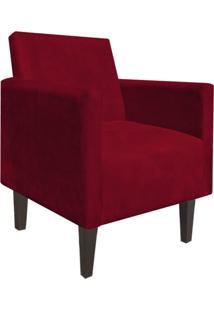 Poltrona Decorativa Compacta Jade Suede Vermelho Com Pés Baixo Chanfrado - D'Rossi
