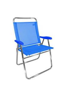 Cadeira De Praia King Zaka Em Alumínio Até 140 Kg Azul