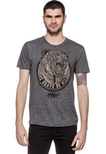 Camiseta Plas Plums Urso Mescla Grafite