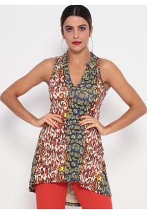 Blusa Alongada Mullet Animal Print- Laranja & Verde-Thipton