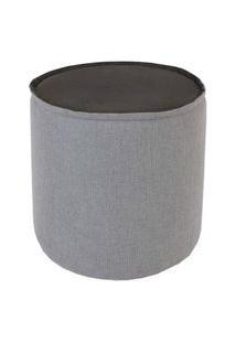 Puff Angra Veludo Cinza Metalizado Prata 41 Cm - 60086 Cinza