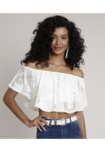 Blusa Feminina Ciganinha Cropped Devorê Manga Curta Off White