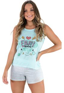 Pijama Mvb Modas Curto Adulto Estampado Shortdoll Cinza Verde - Kanui