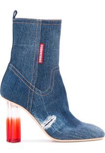 Dsquared2 Bota Jeans Com Salto Alto - Azul
