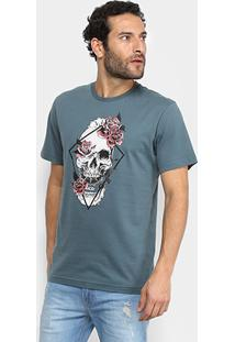 Camiseta Mcd Regular Skull Flower Masculina - Masculino-Musgo