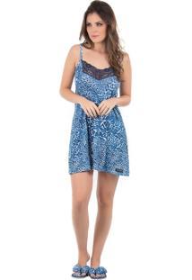 Camisola Animal Print Toque Intimo Azul