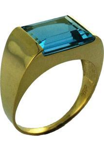 Anel Art Ouro Desejo De Ouro18K Com Topázio Azul Amarelo