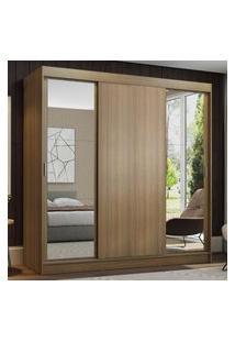 Guarda-Roupa Casal Madesa Reno 3 Portas De Correr Com Espelhos Marrom