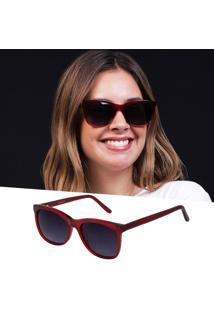 Óculos De Sol Acetato Polarizado Vermelho Feminino Uv 400