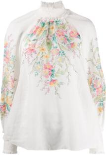 Zimmermann Calça Com Elástico E Estampa Floral - Branco