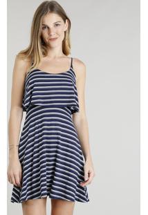 a8418ab3f R$ 35,99. CEA Vestido Feminino Curto Evasê Listrado Com Sobreposição Alças  Finas Azul Marinho