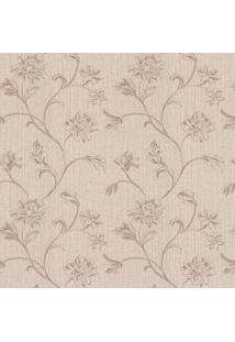 Papel De Parede Floral- Bege & Marrom Claro- 1000X52Shark Metais