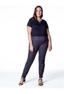 Calça Alfaiataria Risca De Giz Plus Size Feminina - Feminino-Preto