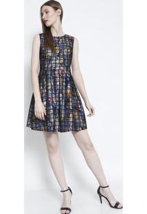 Vestido Com Pregas- Preto Azulsusan Zheng
