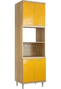 Módulo Para Forno E Micro-Ondas 4 Pts Sicília Argila E Amarelo-Gema Multimóveis