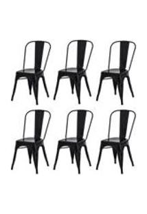 Kit 6 Cadeiras Tolix Iron Design Preta Aco Industrial Sala Cozinha Jantar Bar