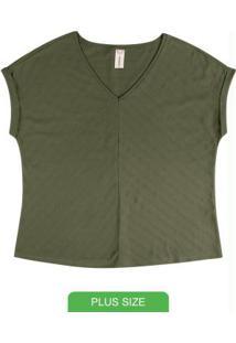 Blusa Em Meia Malha Com Decote V Verde
