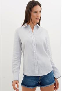 Camisa Le Lis Blanc Linho Ciel Azul Feminina (Ciel, 34)