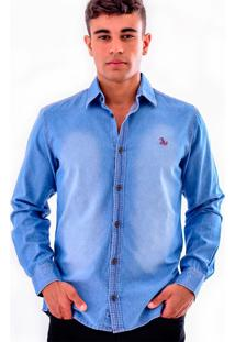 Camisa Jeans Amil - Azul Claro-Gg