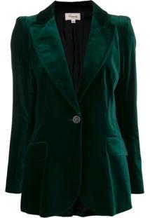 Temperley London Blazer De Veludo Clove Com Abotoamento Simples - Verde