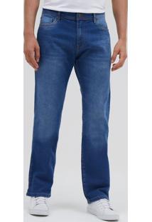 Calça Reta Lisa Em Jeans