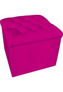 Puff Baú Capitonê Quadrado Suede Pink - D'Rossi