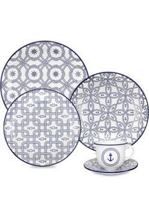 Aparelho De Jantar Floreal Náutico - 20 Peças - Oxford Branco/Azul