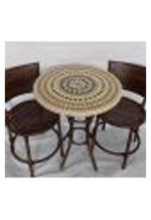 Conjunto De Mesa Em Mosaico Detalhado Bege E Duas Cadeiras 60 Cm