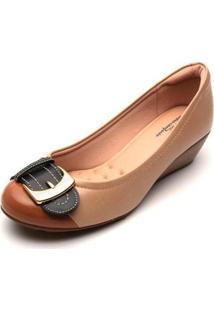 Sapato Anabela Modare Fivela Ultra Conforto Feminino - Feminino-Bege