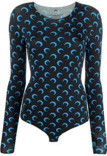 Marine Serre Crescent Moon Print Fitted Bodysuit - Preto