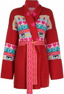 Chiara Ferragni Intarsia Knit Longline Cardigan - Vermelho