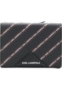 Karl Lagerfeld Carteira De Couro Listrada Com Logo - Preto