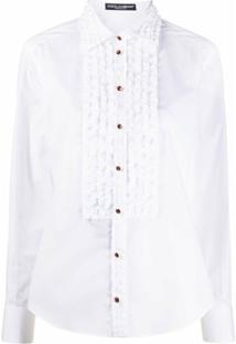 Dolce & Gabbana Blusa Mangas Longas Com Babados Frontal - Branco