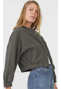 Jaqueta Bomber Hering Cropped Verde