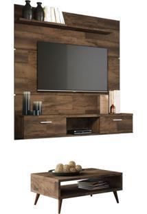 Painel Tv Flat 1.6 Com Mesa De Centro Lucy Deck - Hb Móveis Marrom