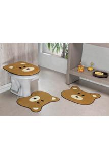 Jogo De Banheiro Premium Formato Urso 03 Peças Caramelo Guga Tapetes
